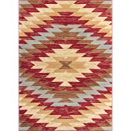 Well Woven Miami Alamo Southwestern Red Southwest Area Rug 8'2'' X 9'10""