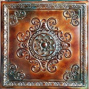 PLASTFILM Pl08 Faux Tin Copper Patina Ceiling Tiles 3D Emboss Cafe Pub Shopping Art Decor Wall Panels 10pieces/lot