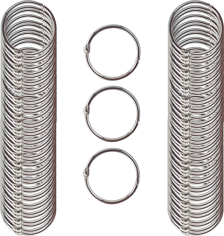 "Business Source Standard Book Rings 1.5/"" Diameter Silver Nickel Plated"