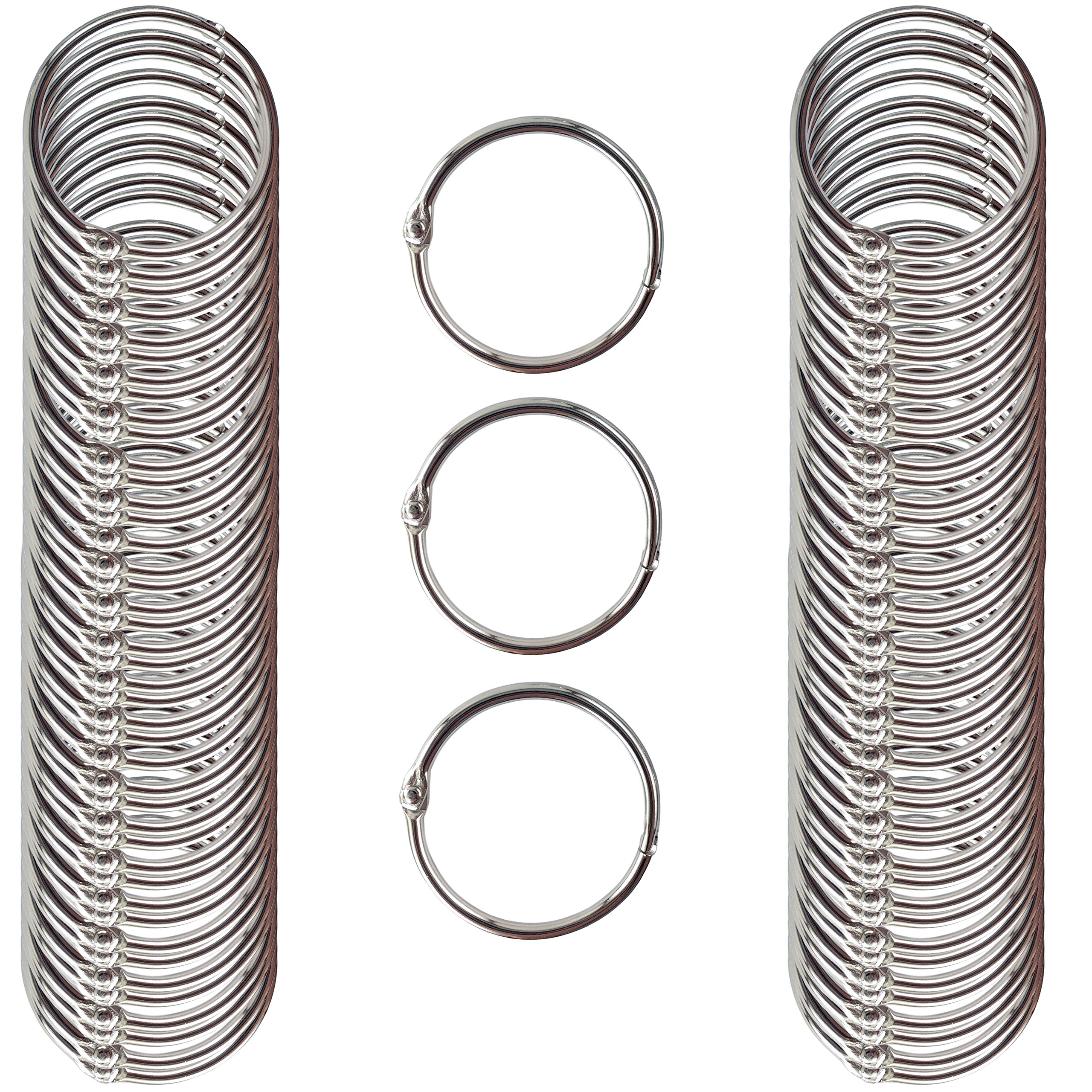 Clipco Book Rings Medium 1.5-Inch Nickel Plated (100-Pack) by Clipco