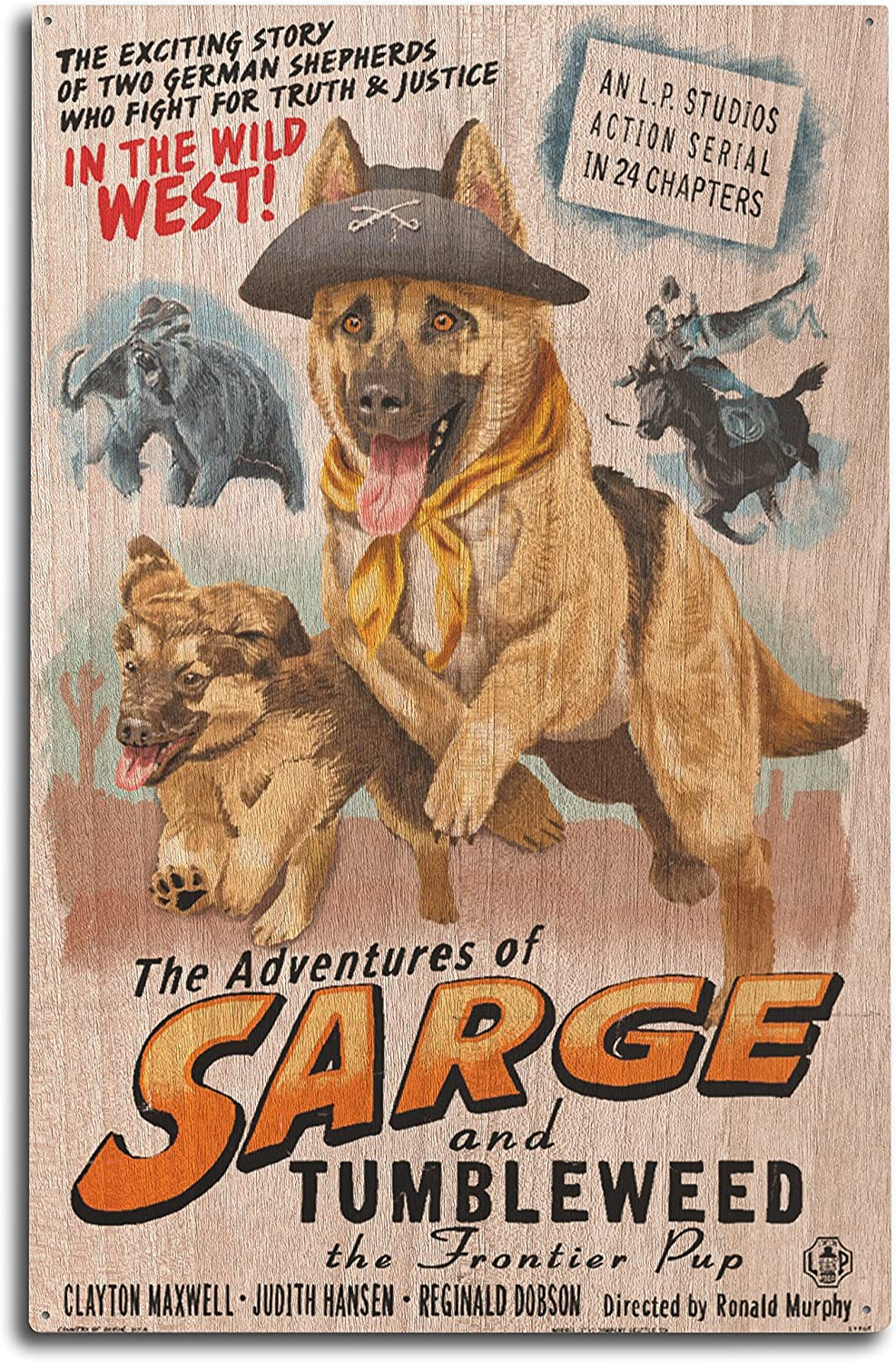 Lantern Press German Shepherd - Adventures of Sarge and Tumbleweed (10x15 Wood Wall Sign, Wall Decor Ready to Hang)