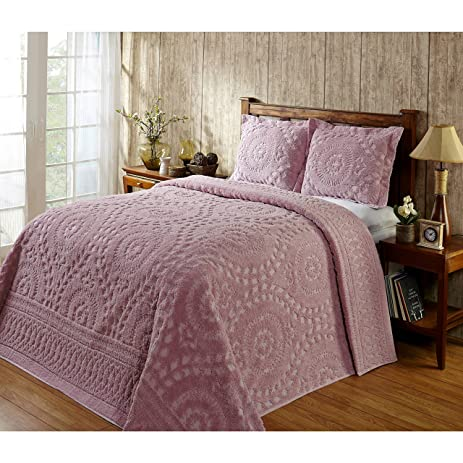 Amazon 1 piece pink medallion twin bedspread set coastal 1 piece pink medallion twin bedspread set coastal flowers embroidered floral themed bedding motif mightylinksfo Images