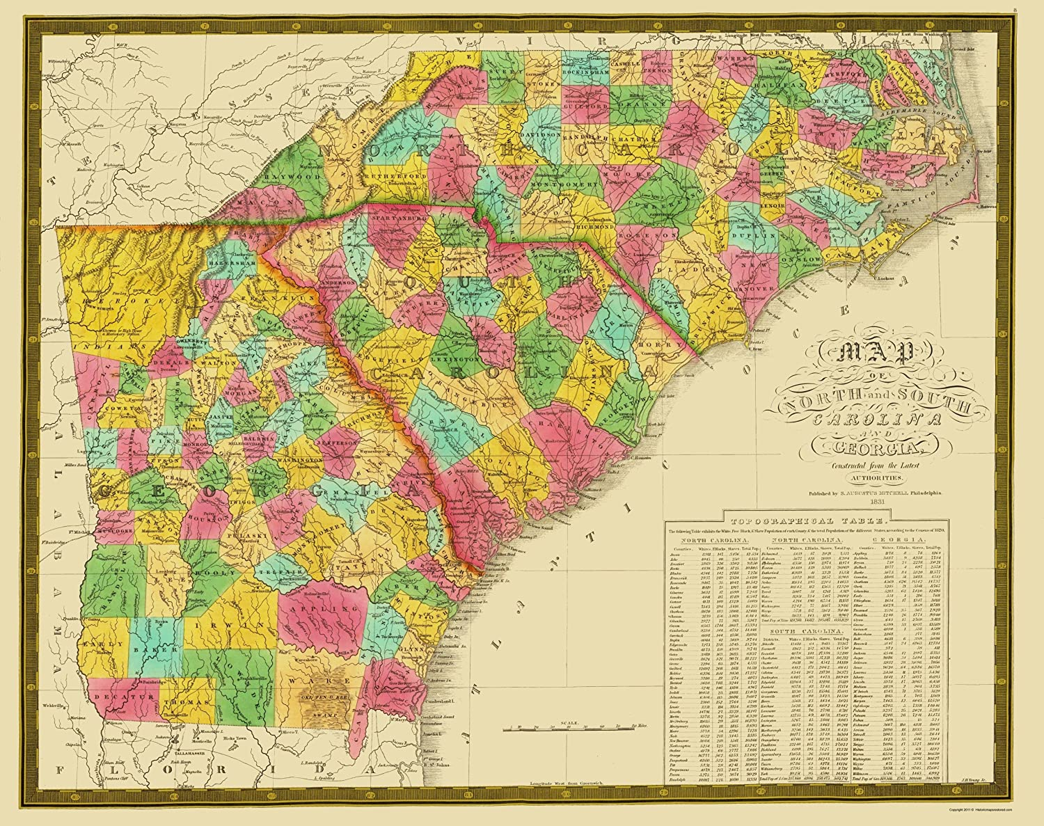 Amazon Com Old State Map North Carolina South Carolina Georgia