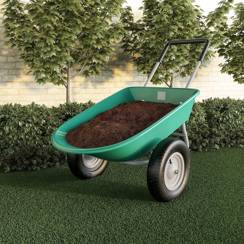Pure Garden Large Capacity 2-Wheeled Garden Wheelbarrow