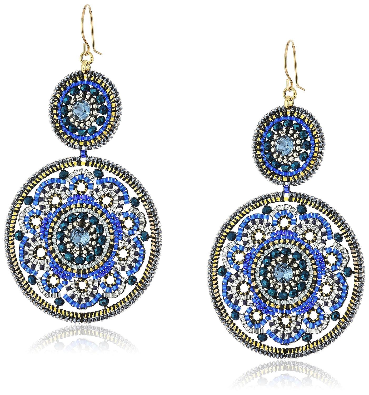 Miguel Ases Large Circle Swarovski Sapphire Double Drop Dangle Hoop Earrings