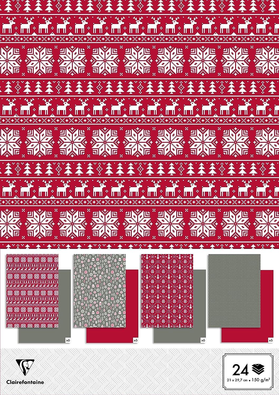 Clairefontaine A4150g scandinavo Christmas Paper Pad con 24fogli, colori assortiti 95248C