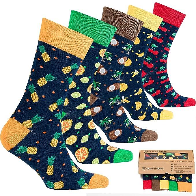 socks n socks Calcetines de algodón de colores para hombre - 5 pares Talle único Fruits: Amazon.es: Ropa y accesorios