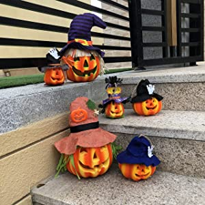 JOYIN Set of 6 Light up Halloween Jack-o'-Lantern Decorative Pumpkin Foam Halloween Decorations Props