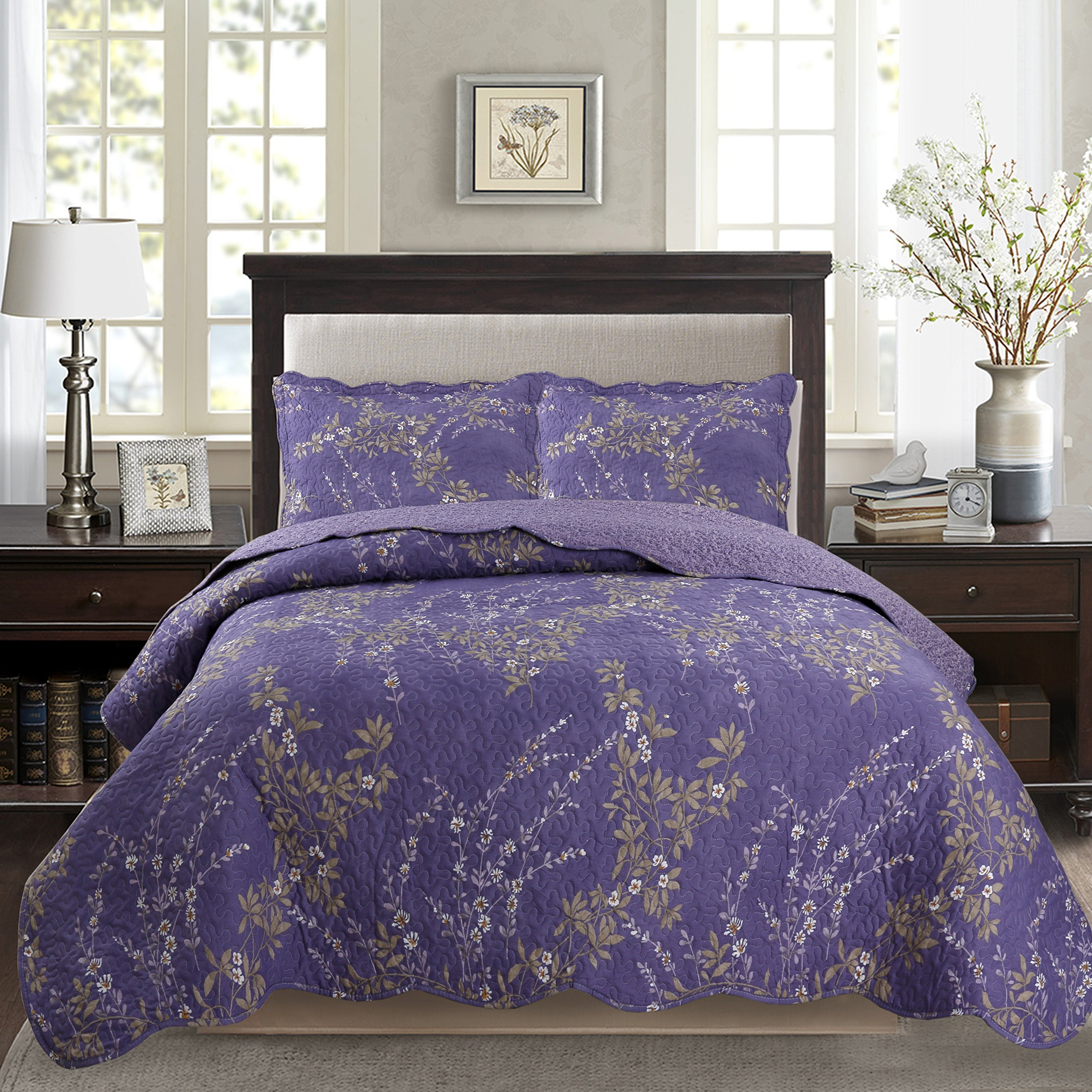 Kasentex Country-Chic Printed Pre-Washed Set. Microfiber Fabric Floral Design Quilt + 2 Shams, KING 104X90+20X36 X2, Purple