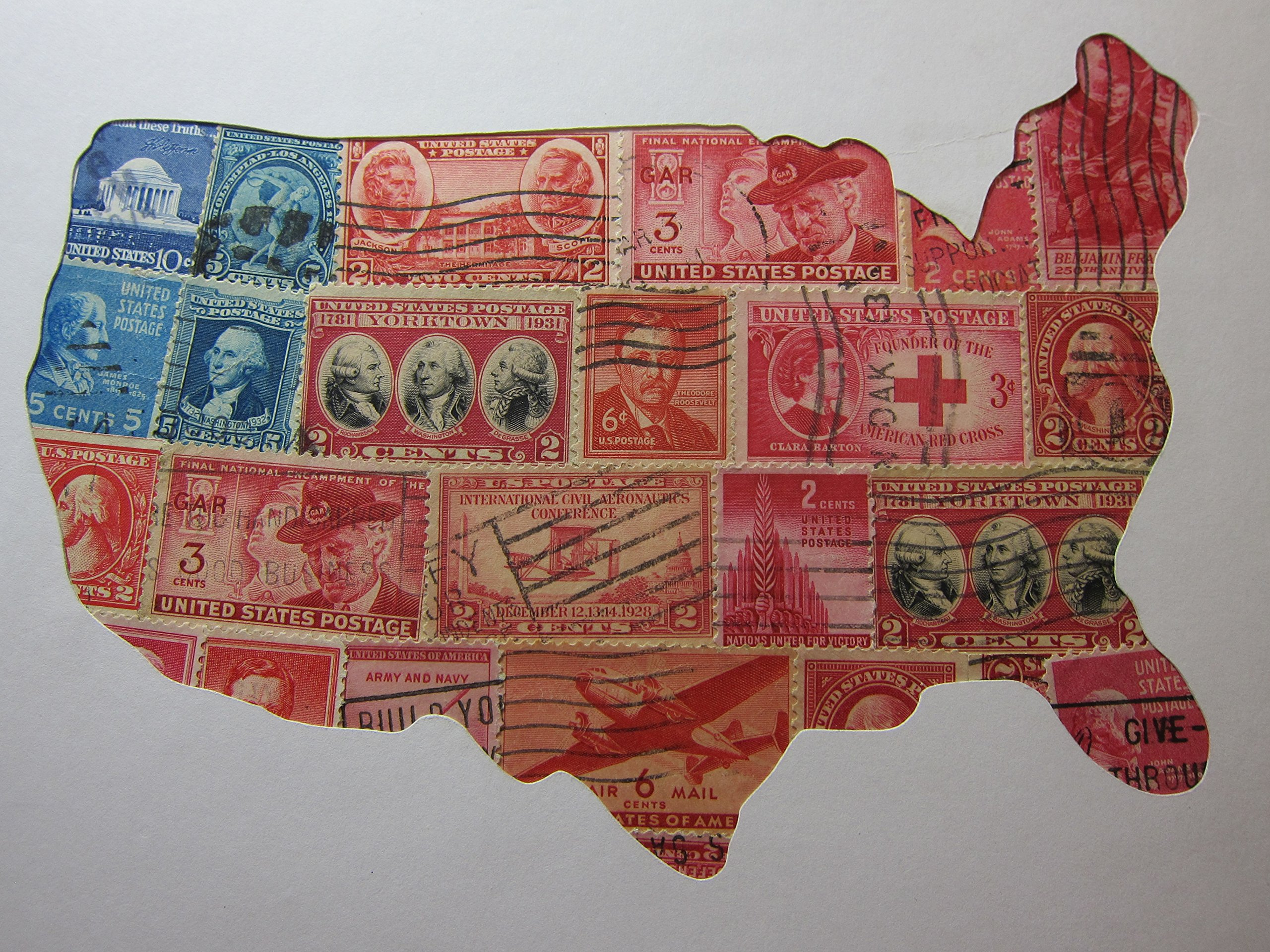 USA Map 8''x10'' Recycled Postage Stamp Art - North America Item#:P219