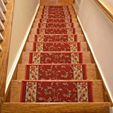 Stair Treads Skid Slip Resistant Backing Indoor Carpet Stair Treads Veronica Red Design 8 ½ inch x 26 ¼ inch (Set of 15, Red)