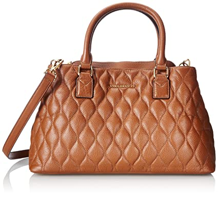 Vera Bradley Quilted Emma Satchel Top Handle Bag, Cognac, One Size ...