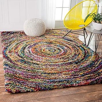 Soft U0026 Plush Swirl Geometric Multi Shag Area Rugs, 5 Feet 3 Inches By 7