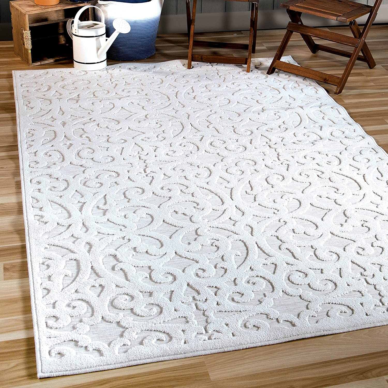 "Orian Sculpted 4704 Indoor/Outdoor High-Low Debonair Natural Area Rug, 5'2"" x 7'6"", Ivory"