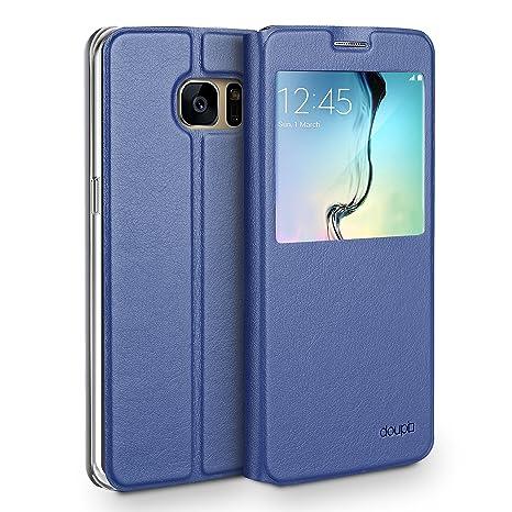 doupi Deluxe Ventana FlipCover para Samsung S6 Edge, Carcasa Case magnético Funda Caso tirón Estilo Libro Protector de Cuero Artificial, Azul