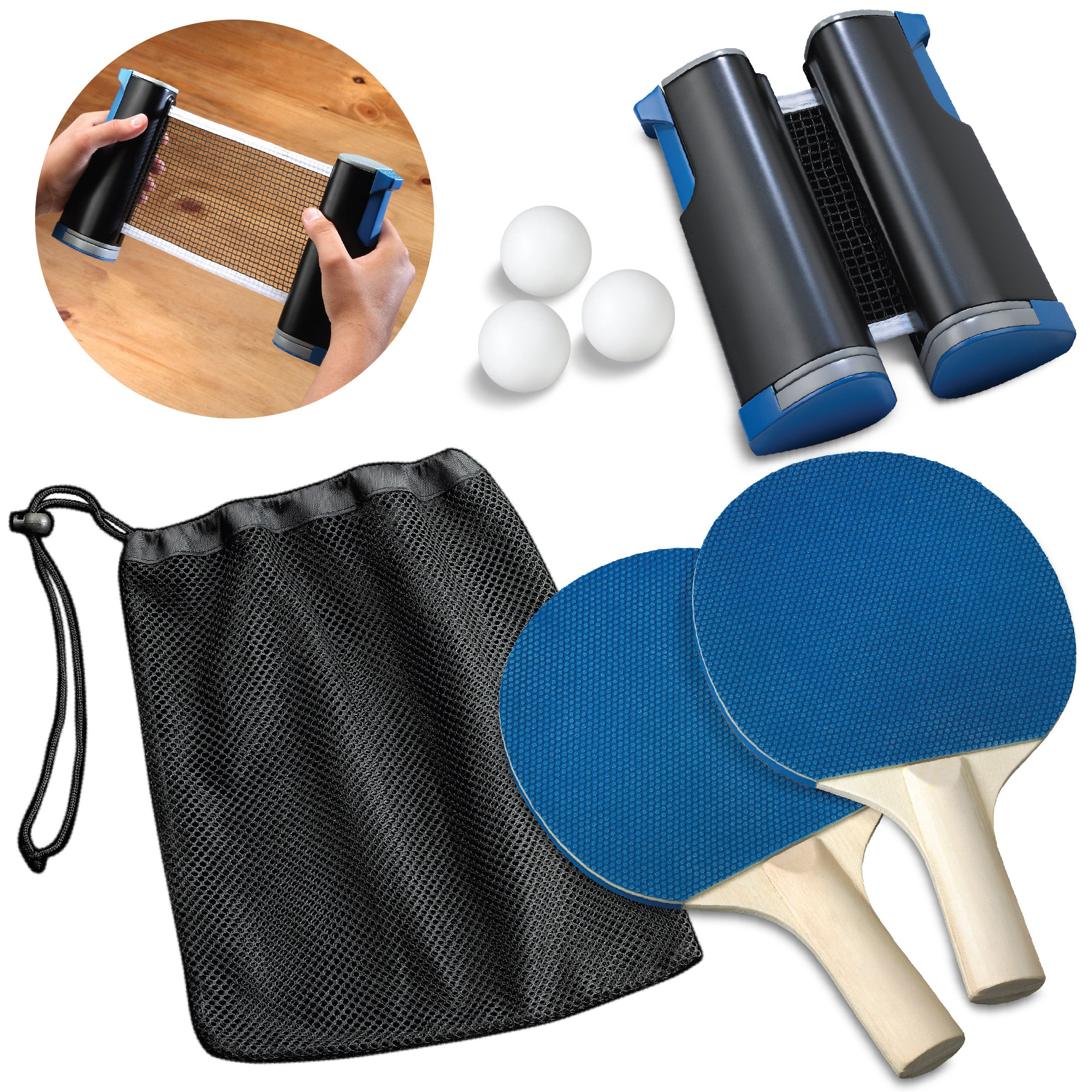 Black Series Retractable Table Tennis Ping Pong Equipment Set with Paddle/Racket x2, Net and Post, Balls x3, Attaches to Any Dining Table Top, for Kids and Adults, Includes Mesh Carrying Case/Pouch by Black Series