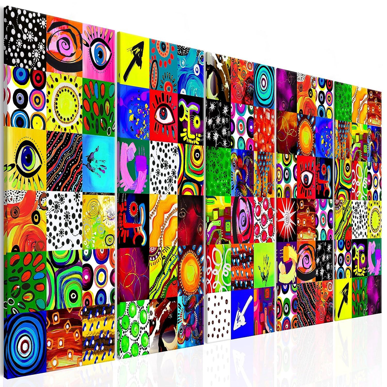 decomonkey Akustikbild Abstrakt 225x90 cm 5 Teilig Bilder Leinwandbilder Wandbilder XXL Schallschlucker Schallschutz Akustikdämmung Wandbild Deko leise modern bunt Abstrakt Kunst