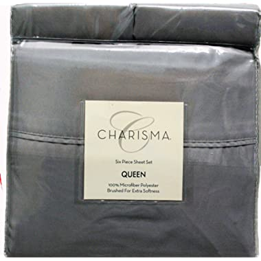 Charisma 6 piece Queen Microfiber (Grey) Pillows and Bed Sheets Set Brushed for Maximum Softness