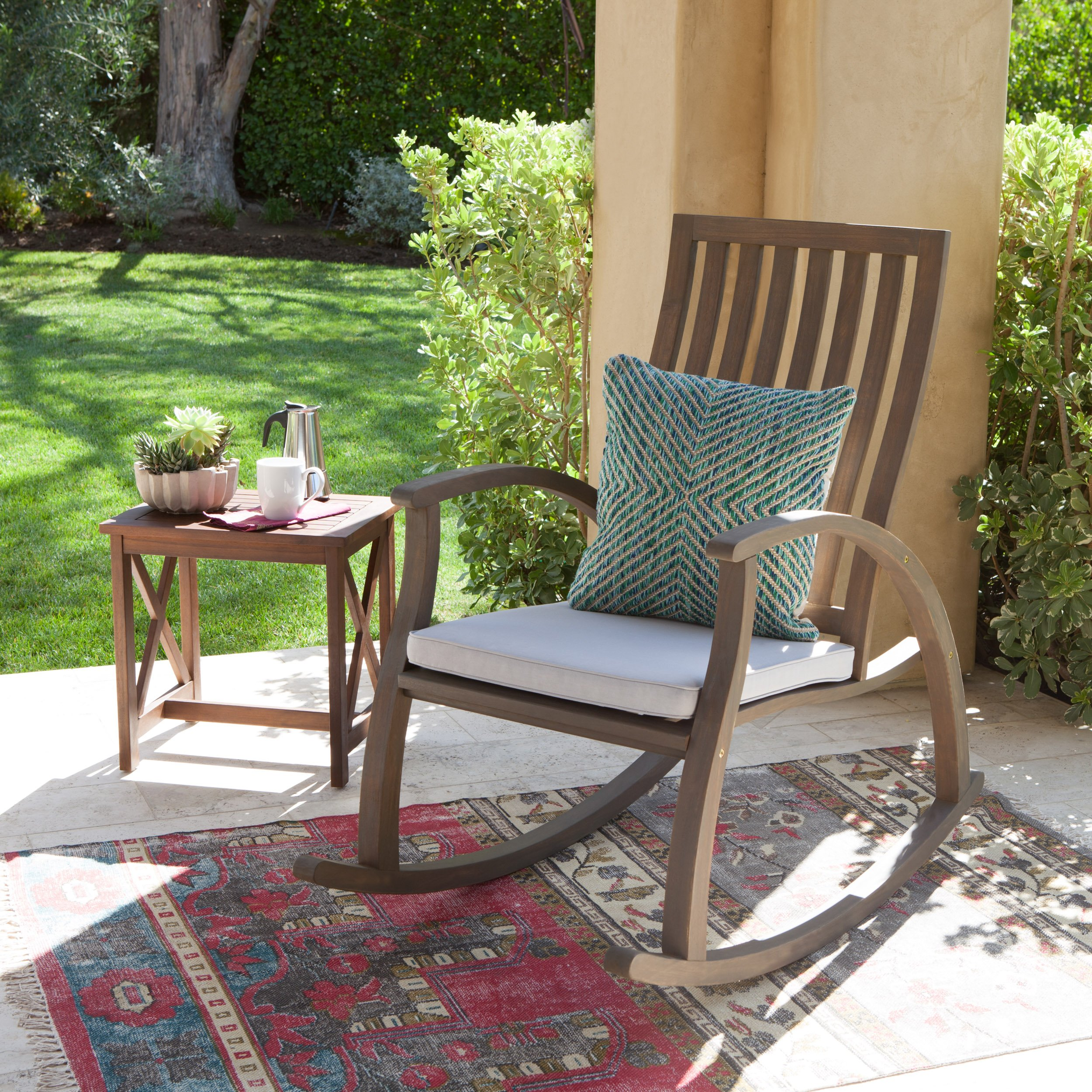 Caleb Outdoor Acacia Wood Rocking Chair with Water Resistant Cushion (Grey Finish/Grey)