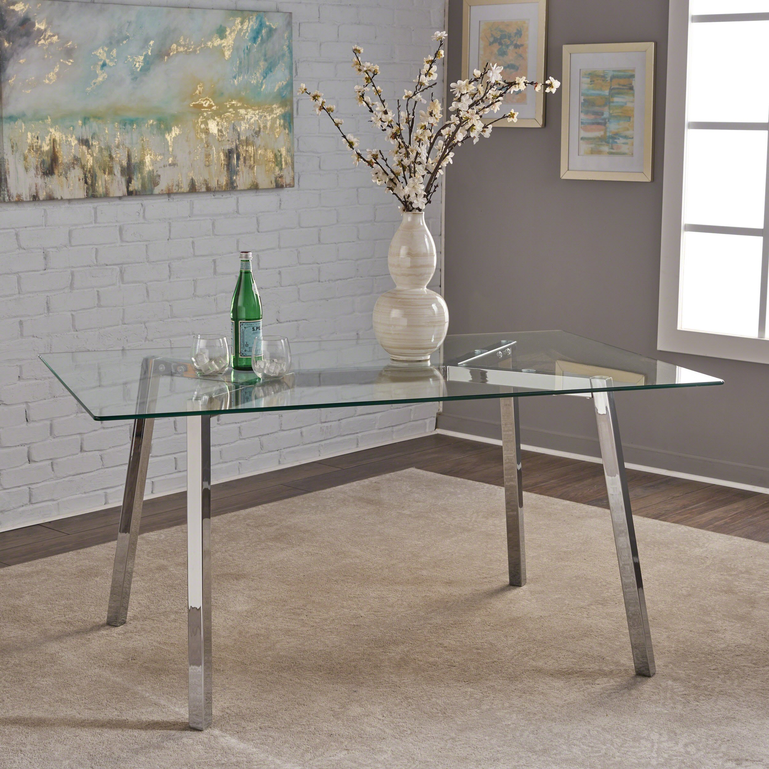 Great Deal Furniture 303715 Verna Tempered Glass Dining Table, Clear/Chrome by Great Deal Furniture