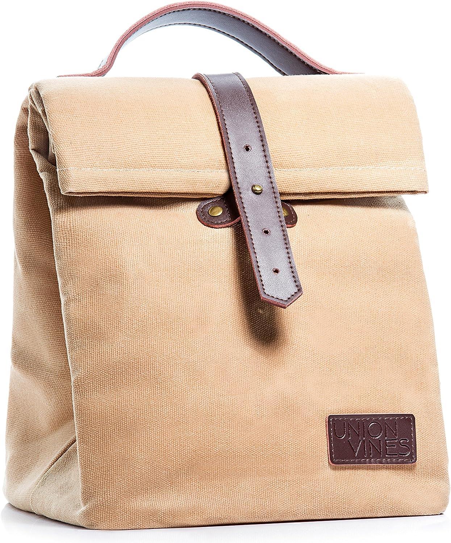 Reusable 100/% Organic Cotton Canvas Lunch Bag for Women Kids Men