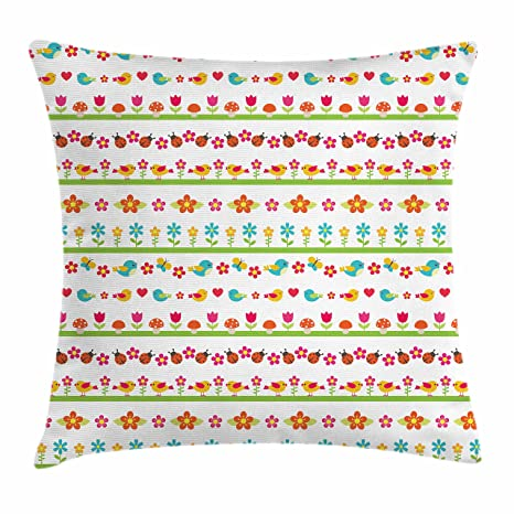 Amazon Com Ambesonne Kids Throw Pillow Cushion Cover Lovely Border