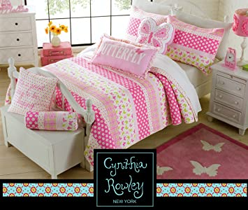 toddler bedding cynthia rowley 2pc quilt set daisy day pink green cotton floral butterfly girl - Toddler Girl Bedding