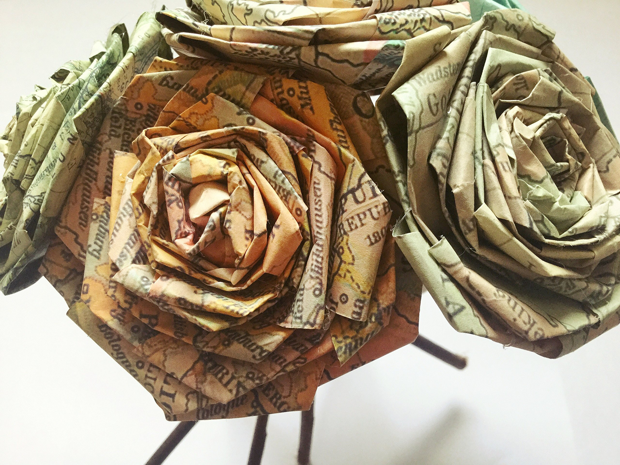 Vintage-Map-Paper-Rose-Bouquet-Vintage-Home-Decor-Artificial-Flora-Flowers-Gift-for-Her-Him-Travel-Themed-Destination-Wedding-Paper-Flower-Bouquets-Handmade-Bunch-of-5-6