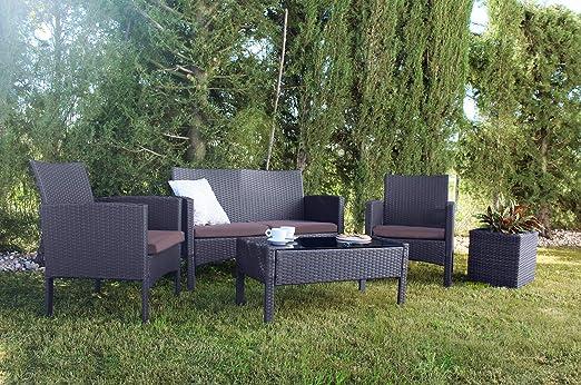 KieferGarden Oklahoma Conjunto Muebles de jardín y Exterior en Ratán Sintético: Amazon.es: Jardín