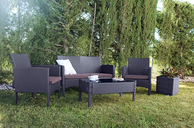 KieferGarden Oklahoma Conjunto muebles de jardín y exterior en Ratán Sintético