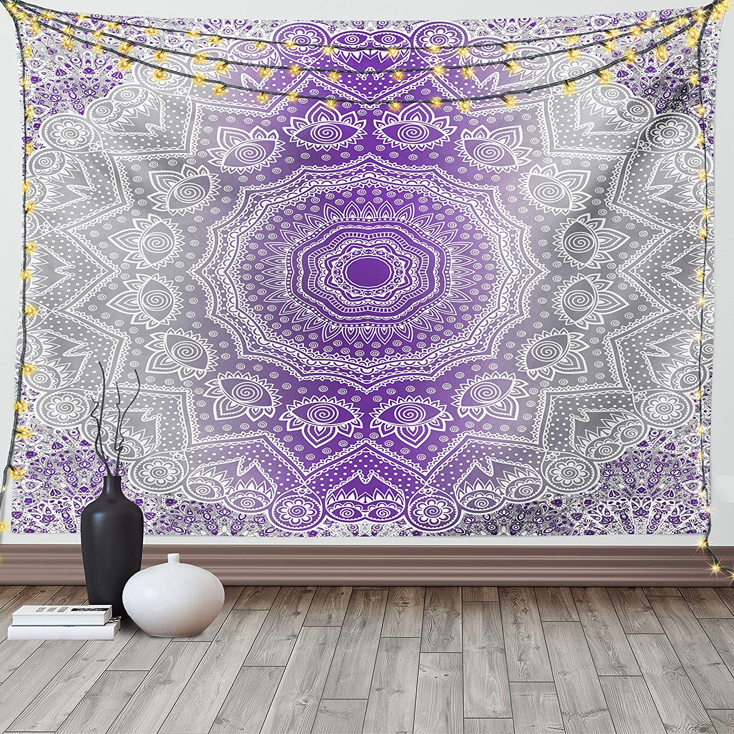 Ambesonne Grey and Purple Tapestry, Ombre Mandala Abstract Eastern Art Cosmos Theme Sign Design Oriental Print, Wide Wall Hanging for Bedroom Living Room Dorm, 60