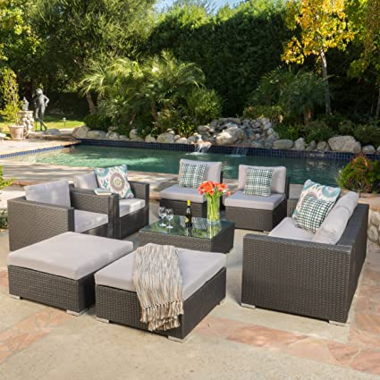 Cortez Sea 9 Piece Outdoor Wicker Furniture Sectional Sofa Set
