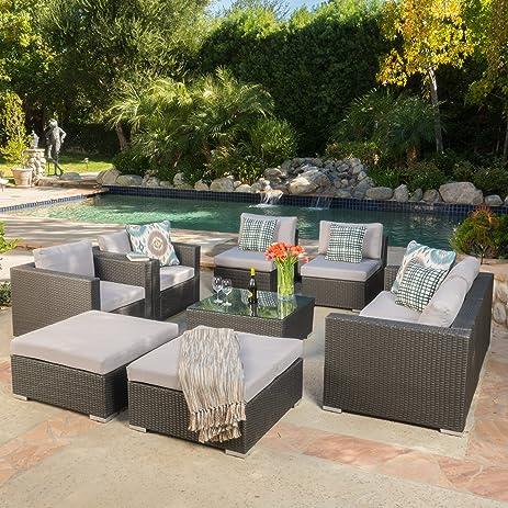 Cortez Sea 9 Piece Outdoor Wicker Furniture Sectional Sofa Set