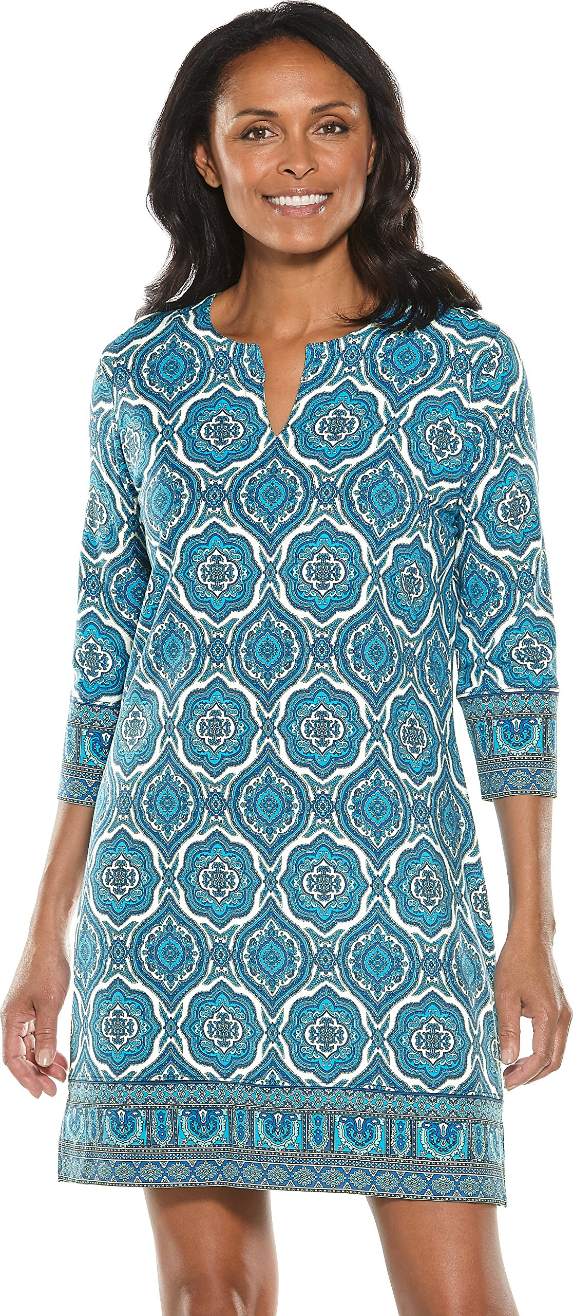 Coolibar UPF 50+ Women's Oceanside Tunic Dress - Sun Protective (3X- Baja Blue Beach Medallion)