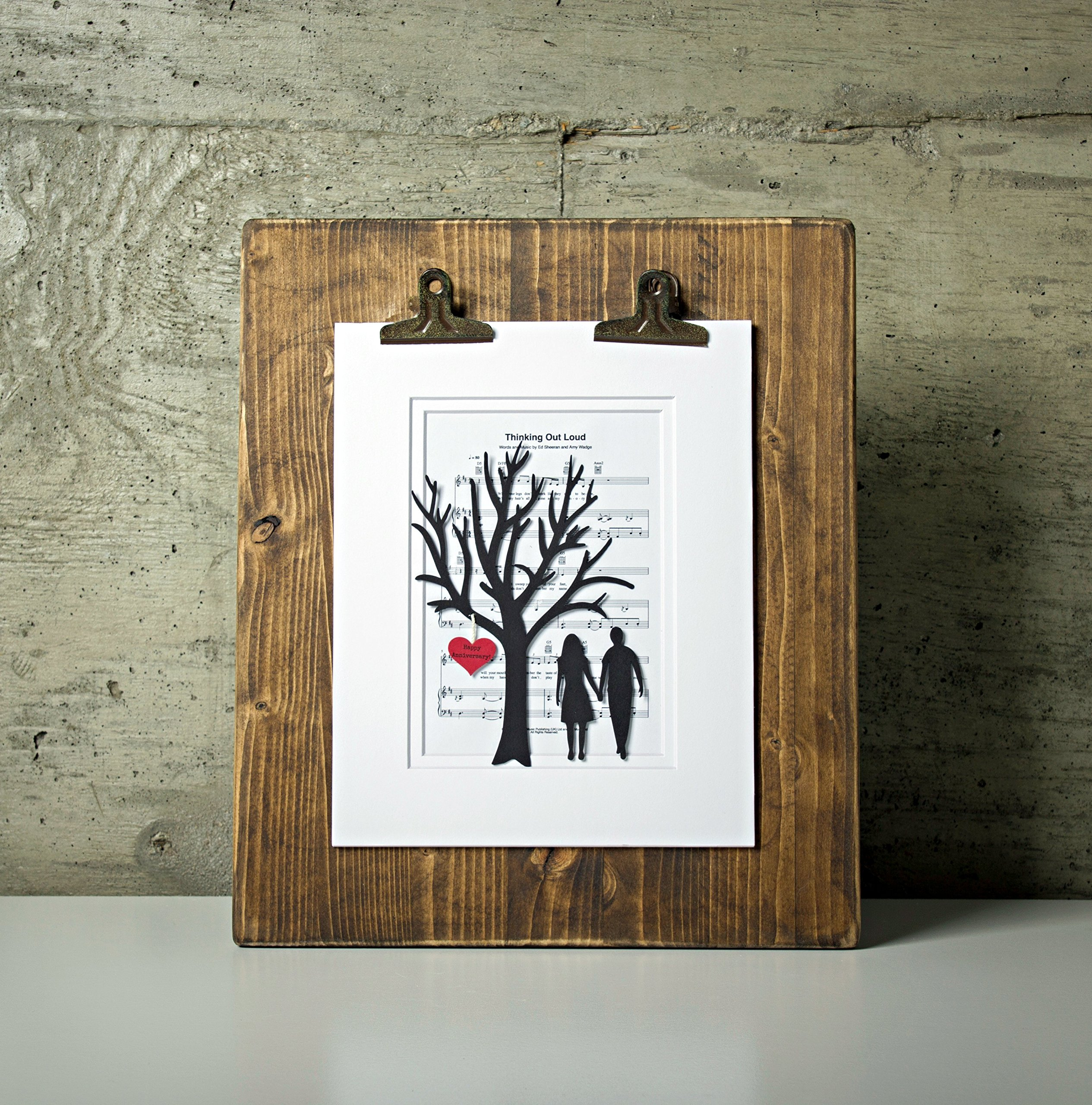 ''Thinking Out Loud'' First Anniversary or Wedding Gift - 3D Paper Tree & Hearts on Sheet Music - 1st Anniversary Gift- Paper Anniversary - First Dance Song - Last Minute Anniversary Gifts