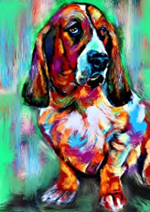 Basset Hound Wall Art Print, Colorful Basset Hound Art, Basset Hound Decor, Basset Hound Dog Picture, Dog Artwork Print, Colorful Basset Owner Gift Hand Signed by Oscar Jetson