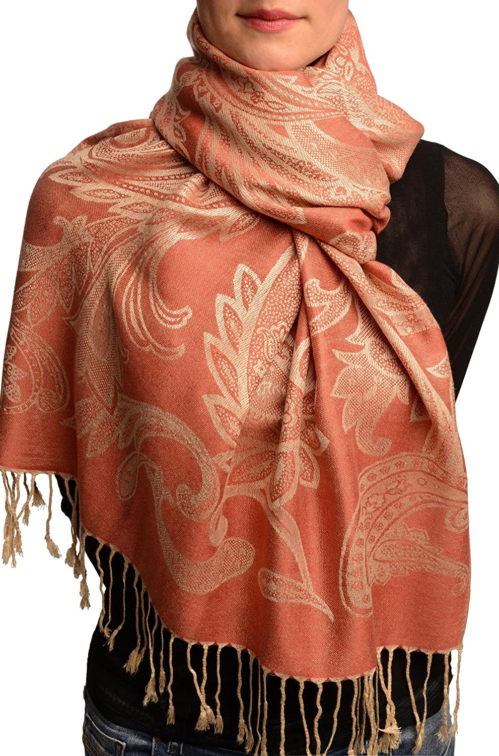 Large Paisleys On Coral Pink Pashmina Feel With Tassels - Scarf