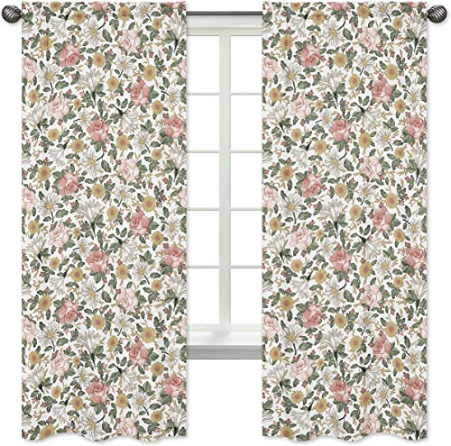 Sweet Jojo Designs Vintage Floral Boho Window Treatment Panels Curtain