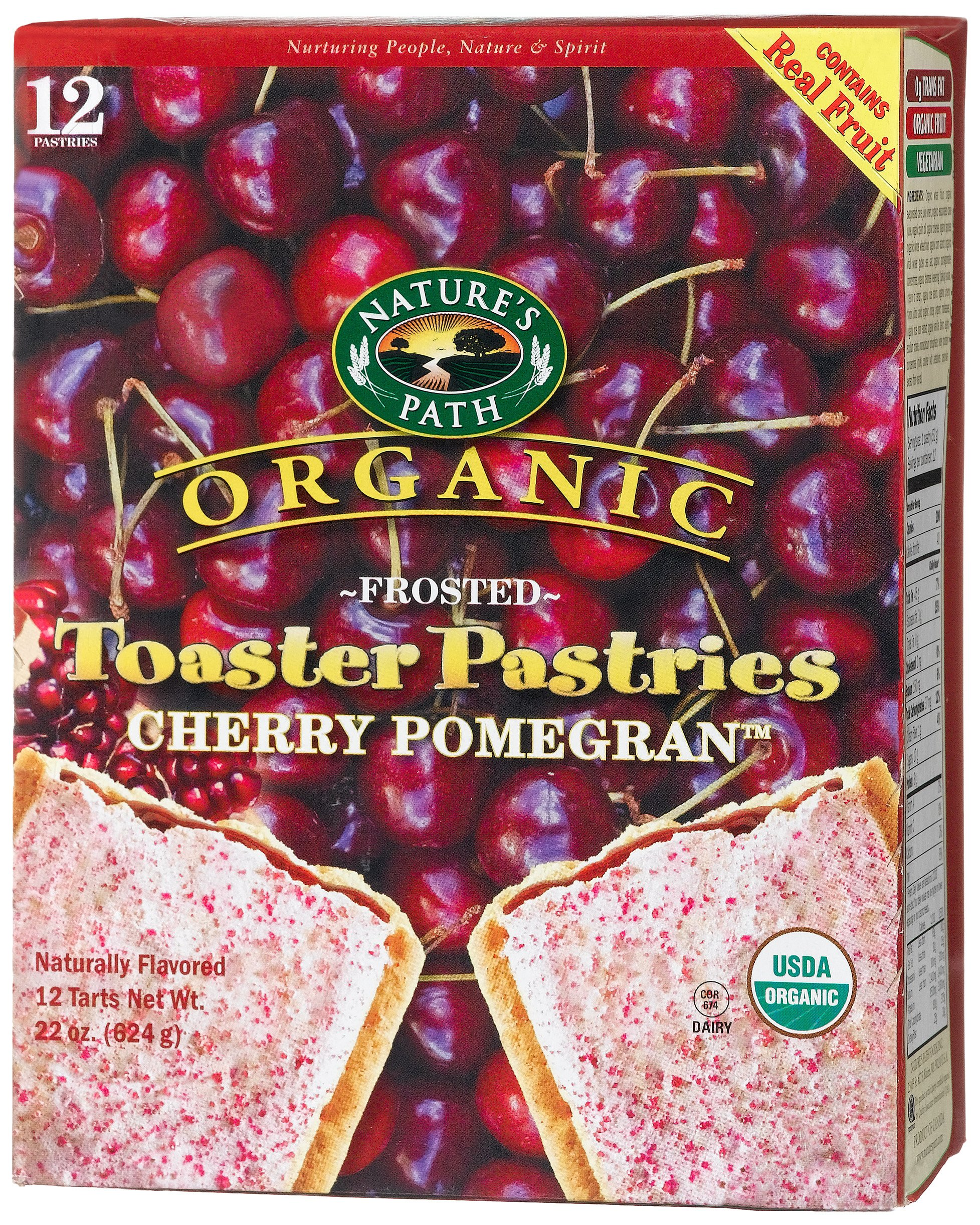 Nature's Path Organic Toaster Pastries, Frosted Cherry Pomegranate, 12-Count Boxes (Pack of 6)