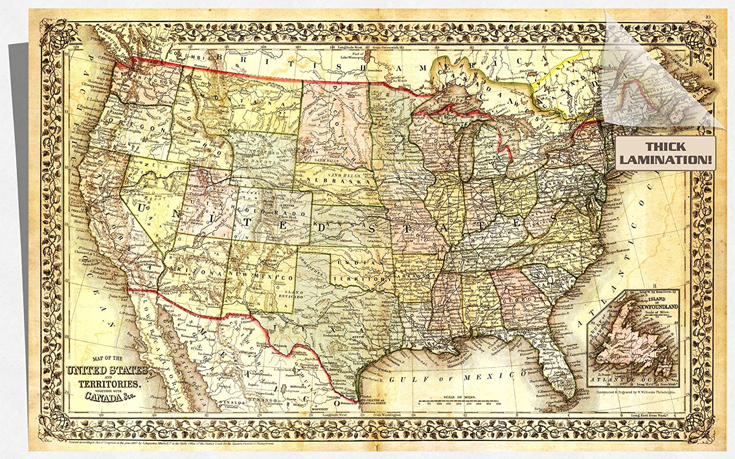 Amazon.com: Beautiful Vintage United States Map Poster - 12x7 Inches ...