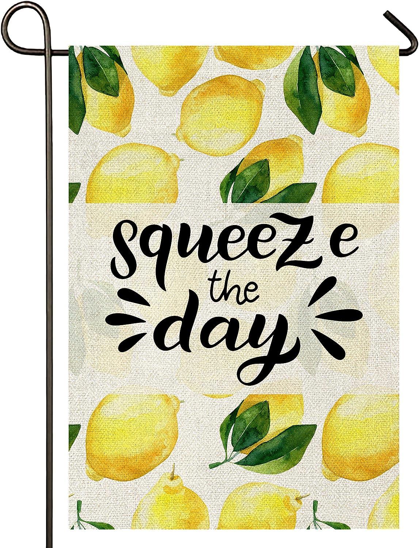 Atenia Squeeze The Day Lemon Burlap Garden Flag, Double Sided Garden Outdoor Yard Flags for Summer Decor (Garden Size - 12.5X18)