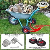 Estabilizadores para carretilla | Adaptadores de rueda de jardín para carretilla X 2 | Conjunto de rueda con kit adaptador