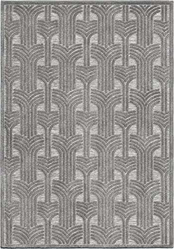 Orian Rugs Boucle Collection 398915 Indoor Outdoor High-Low Grand Theatre Area Rug, 7 9 x 10 10 , Silverton Grey
