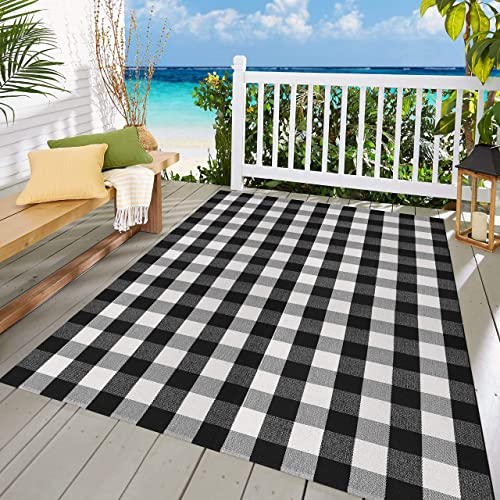 MUBIN Buffalo Check Rug Black White Plaid Rugs 5.5ft x 7.5ft Cotton Washable Hand-Woven Outdoor Area Rugs for Sofa Living Room Dining Room Bedroom 5.5 x 7.5 , Black White