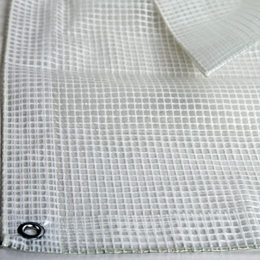 12ft x 16ft Heavy Duty Clear Greenhouse Tarp UV Coated Protection for Outdoor Camping RV Truck and Trailers Premium Quality 10 mil with 3x3 Mesh Weave for Added Strength