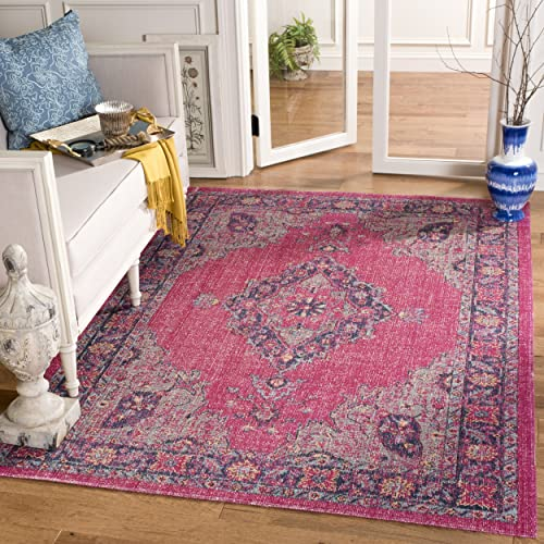 Safavieh Artisan Collection ATN505P Vintage Bohemian Fuchsia and Navy Medallion Area Rug 9' x 12'