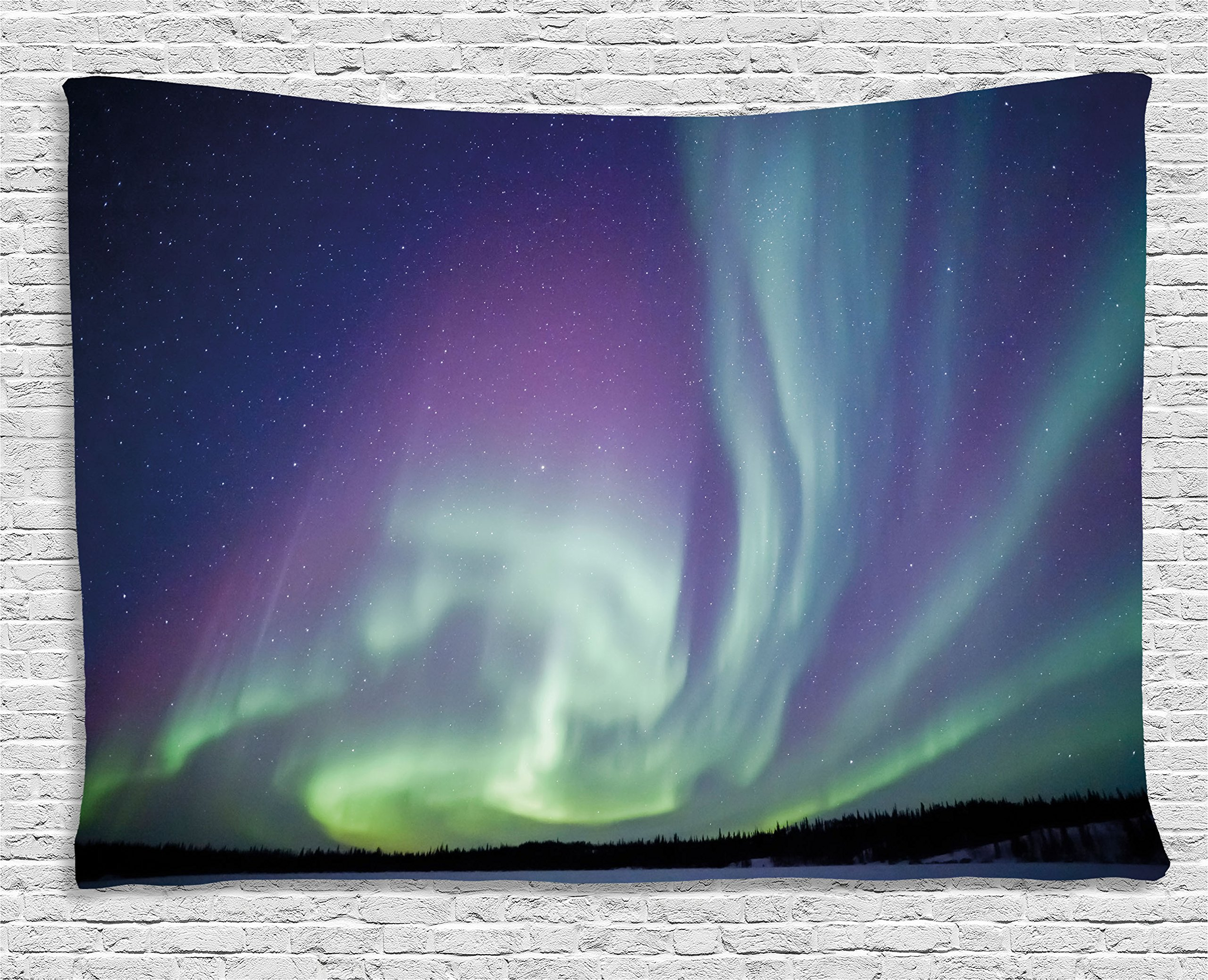 Ambesonne Northern Lights Tapestry, Exquisite Atmosphere Solar Starry Sky Calming Night Image, Wall Hanging for Bedroom Living Room Dorm, 80 W X 60 L inches, Mint Green Dark Blue Violet