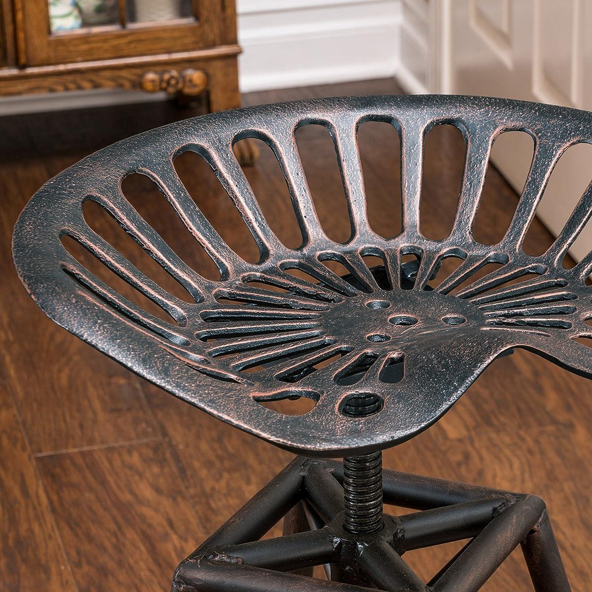 Charlie Industrial Metal Design Tractor Seat Bar Stool (Black Brushed Copper)