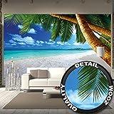 Tapiz de foto Playa de palmas Mural Decoración Caribe Playa de ensueño Bahía Paraíso Naturaleza Isla Palmas Trópicos Cielo azul Verano I foto-mural foto póster deco pared by GREAT ART (336 x 238 cm)
