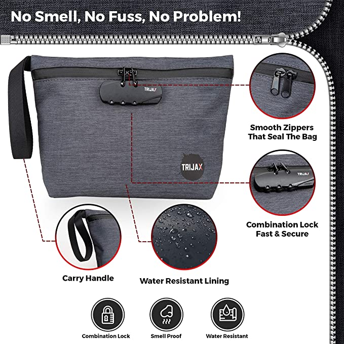 Smell Proof Bag Carbon Lined Divider Pocket with Combination Lock/&Inside Pouches